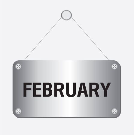 February hanging sign isolated on white wall