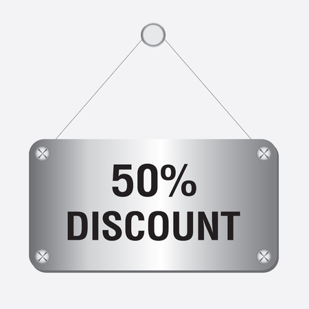 sales person: silver metallic 50 percent discount sign hanging on the wall Illustration