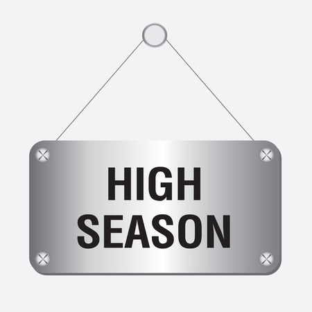 extra money: silver metallic high season sign hanging on the wall