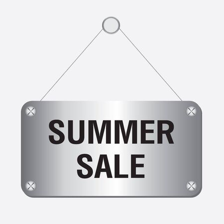 silver metallic summer sale sign hanging on the wall