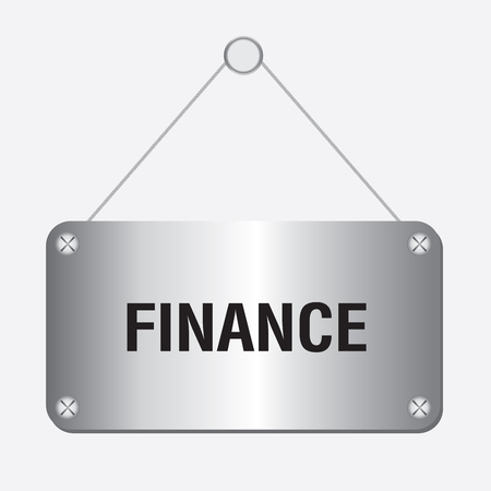 interst: silver metallic finance sign hanging on the wall Illustration