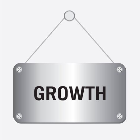 wordrn: silver metallic growth sign hanging on the wall Illustration