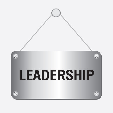 worldrn: silver metallic leadership sign hanging on the wall Illustration