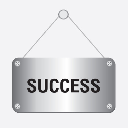 vectorrn: silver metallic success sign hanging on the wall