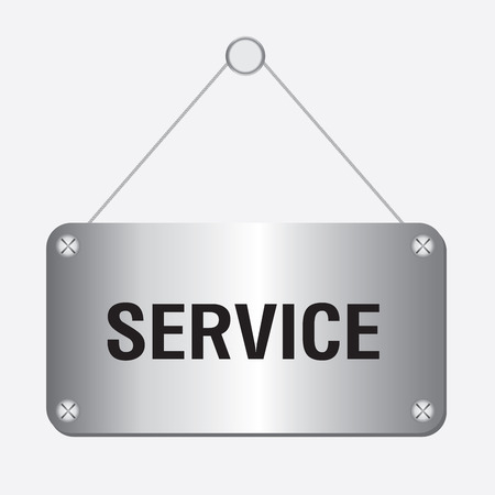 silver service: silver metallic service sign hanging on the wall Illustration