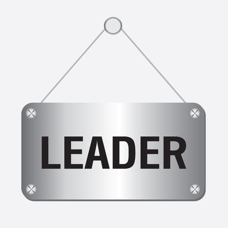 lead rope: silver metallic leader sign hanging on the wall
