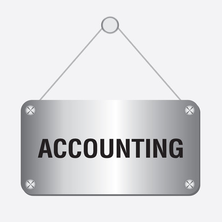 silver metallic accounting sign hanging on the wall Vector