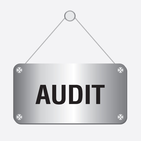 provide information: silver metallic audit sign hanging on the wall Illustration