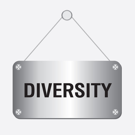 equal opportunity: silver metallic diversity sign hanging on the wall Illustration