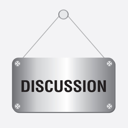 discussion: silver metallic discussion sign hanging on the wall Illustration