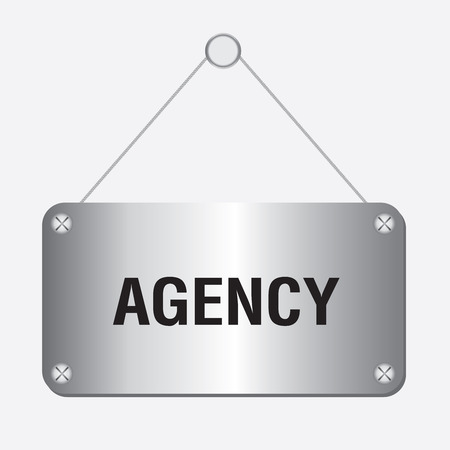 coordination: silver metallic agency sign hanging on the wall Illustration