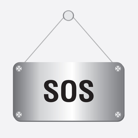 sos: silver metallic SOS sign hanging on the wall