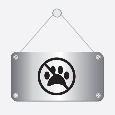 dog allowed: silver metallic no dog paw sign hanging on the wall