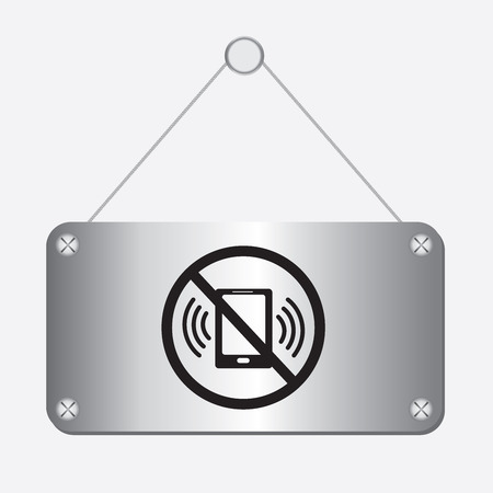 refrain: silver metallic no phone sign hanging on the wall Illustration