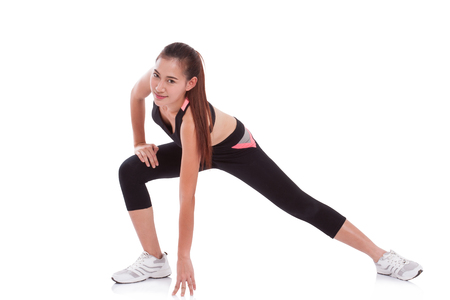 sport woman: Sport woman stretching exercise. Fitness concept