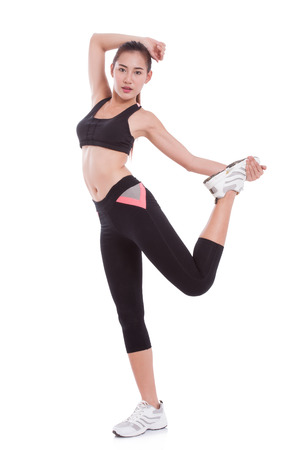 full: Sport woman stretching exercise. Fitness concept