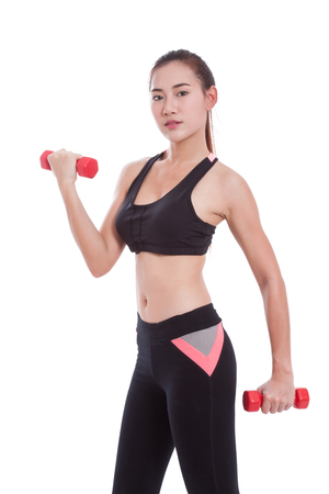 sport woman: Sport woman doing exercise with lifting weights