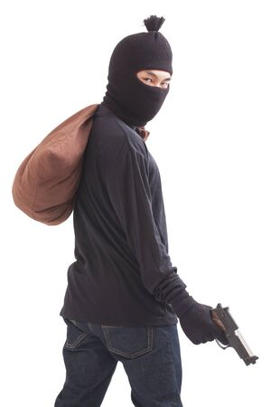 Bandit holding gun with bag on white background