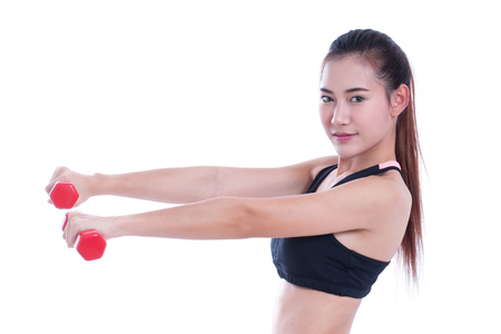 levantando pesas: Sport woman doing exercise with lifting weights