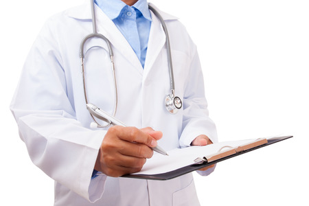 historia clinica: Doctor writing a medical prescription on white background