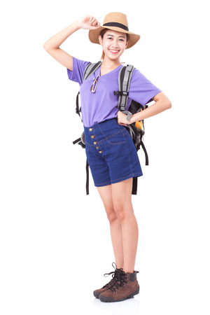 Woman traveler with backpack on white background