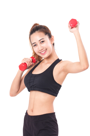 hand weights: Young Woman doing fitness exercise with a hand weights. healthy lifestyle.