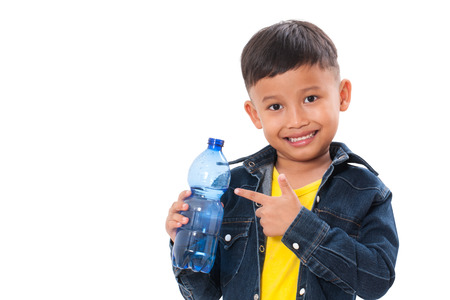 Happy boy with bottle of water isolated on white background
