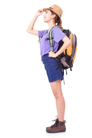 knapsacks: Young woman traveler with backpack on white background