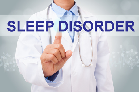 in somnolence: Doctor hand touching SLEEP DISORDER sign on virtual screen. medical concept