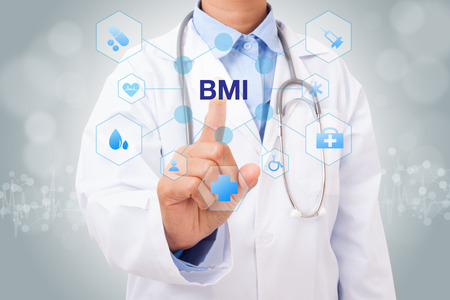 excess: Doctor hand touching BMI sign on virtual screen. medical concept