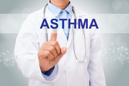 Doctor hand touching asthma sign on virtual screen. medical concept