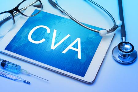 cva: CVA word on tablet screen with medical equipment on background.