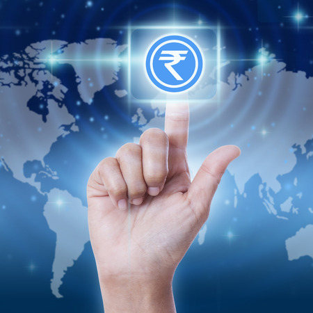 press button: Hand press rupee sign button, business concept