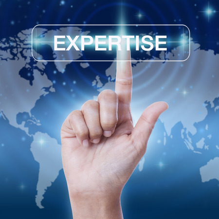 expertise concept: hand pressing expertise sign on virtual screen. business concept