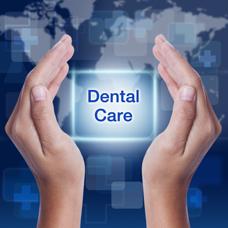 dentalcare: dental care word on screen background. medical concept