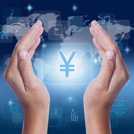 yen sign: Hand Yen sign JPY currency symbol on screen. business concept