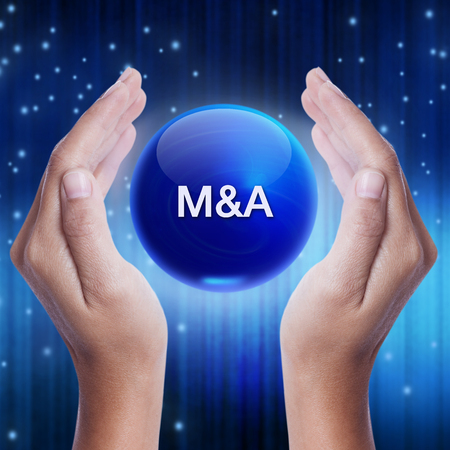 acquisition: Hand showing blue crystal ball with M&A (Merger and Acquisition) sign. business concept