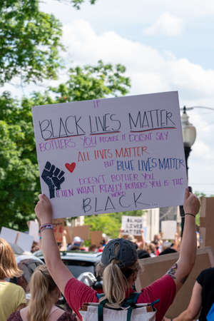 Black Lives Matter Protest in Bloomington, Indiana, USA. June 5th 2020