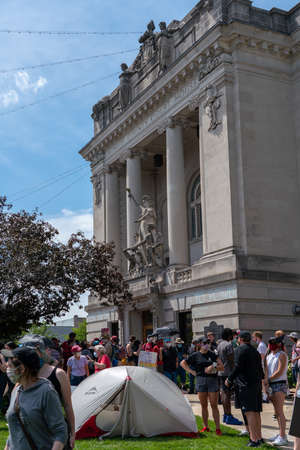 Black Lives Matter Protest in Bloomington, Indiana, USA. June 5th 2020. In the front of Monroe County Courthouse. Downtown. Editorial