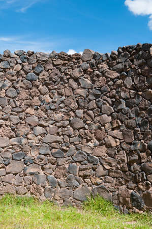 Inca walls background in a sunny day