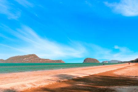 tropical Landscape at Pran Buri is a tropical sea and beautiful tropical beach in the clear blue sky. Pran Buri, Prachuap Khiri Khan, Thailand.