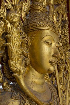 nat: Buddha on the door, Wat Thammamun Worawihan, Mueang Chai Nat District, Chai Nat Province, Thailand