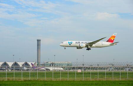 Bangkok, Thailand - July 30, 2017: Air austral Plane landing to runways at suvarnabhumi international airport in Bangkok ,Thailand. This airport is one of the most populated airports in the world.