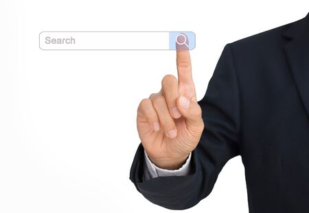 A businessman searching for information on the search toolbar on a computer screen