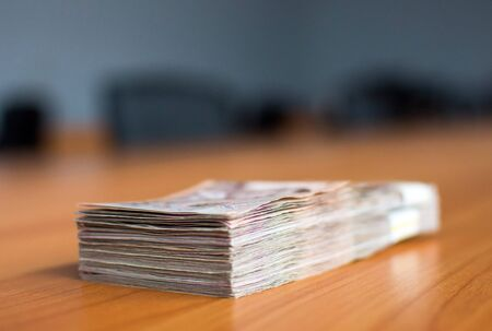 Thai bank notes, bank notes, cash banknotes, large amounts of money The concept of financial success, investment and wealth