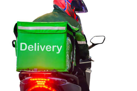 Back of food delivery driver d green food box on motorcycle concept of online food ordering