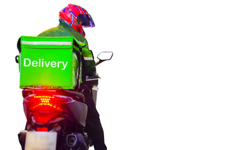 Motorcycle driver delivers food delivery on white