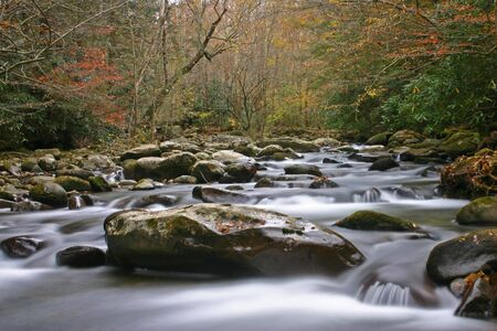 A beautiful flowing autumn stream in the Great Smoky Mountains Stock Photo