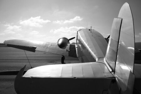 Tail view of a vintage twin engine airplane Stock Photo