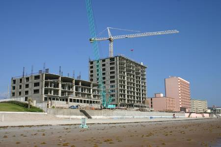 New oceanside condominium construction Stock Photo